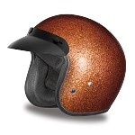 DOT Brown Metal Flake 3/4 Open Face Motorcycle Helmet
