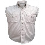 Men's White Sleeveless Shirt