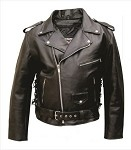 Big Men's Leather Motorcycle Jacket Zip-Out Liner