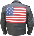 Men's Leather Motorcycle Jacket with USA Flag