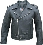 Men's Leather Motorcycle Jacket with Full Belt