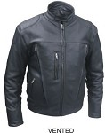 Men's Motorcycle Riding Leather Jacket with Air Vents