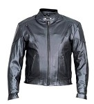 Men's Vented Motorcycle Riding Leather Jacket with Z/O Lining