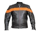 Men's Leather Motorcycle Jacket with Orange Chest Stripe