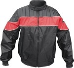 Mens Red & Black Nylon Water Resistant Jacket