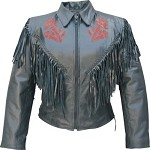 Ladies Red Rose Leather jacket with Fringe