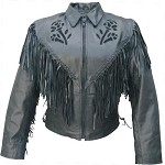 Ladies Black Rose Leather jacket with Fringe
