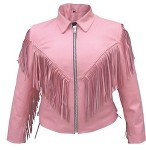 Ladies Pink Leather Motorcycle Jacket with Fringes