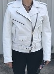 Ladies White Leather Motorcycle Jacket