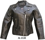 Ladies Motorcycle Leather Jacket with Braid