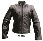 Ladies Plain Leather Jacket Gathered Back