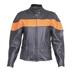 Ladies Vented Orange Two Toned Leather Jacket