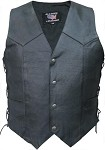 Men's Lightweight Leather Vest with Side Laces
