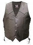 Men's Gun Pockets Single Panel Leather Vest