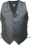 Men's Tall Leather Motorcycle Vest with Side Laces