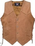 Men's Side Laced Basic Brown Leather Vest