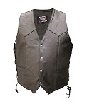 Men's Single Panel Leather Vest with Gun Pockets