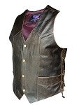 Men's Side Laced Retro Brown Leather Vest