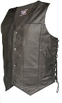 Men's 10 Pocket Leather Vest with Side Laces