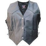 Ladies Black Leather Vest with Side Laces