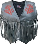 Ladies Red Rose Leather Vest with Fringe
