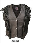 Ladies Braided Black Leather Vest with Fringe