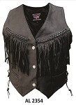 Ladies Braided Leather Vest with Fringes