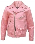 Girls Pink Leather Motorcycle Jacket