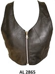 Ladies Low Cut Leather Halter Top with Zipper