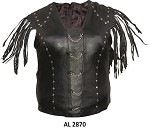 Ladies Fringe Studded Leather Halter Top with Chains