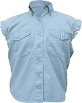 Womens Blue Sleeveless Shirt With Buttons