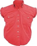 Womens Red Sleeveless Shirt With Buttons