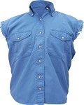 Womens Royal Blue Sleeveless Shirt With Buttons