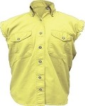 Womens Yellow Sleeveless Shirt With Buttons