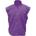 Womens Purple Sleeveless Shirt With Buttons