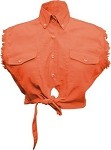 Ladies Orange Sleeveless Tie Up Shirt