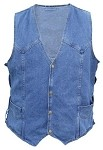 Men's Side Lace Blue Denim Vest with Gun Pockets
