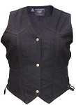 Ladies Side Lace Black Denim Vest with Gun Pockets