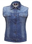 Ladies Rub Off Blue Denim Vest
