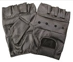 Padded Fingerless Leather Motorcycle Gloves