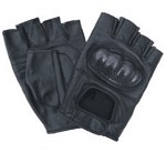Leather Fingerless Gloves with Kevlar Knuckles