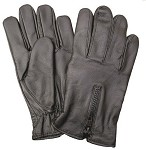 Lined Zipper Leather Motorcycle Riding Gloves
