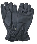 Lined Leather Gloves with Zippered Cuff