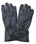 Lightly Lined Long Leather Gloves with Velcro Strap