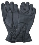 Lined Long Leather Gloves with Zipper Cuff