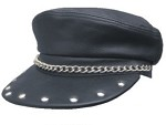 Studded Biker Cap with Chain
