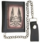 Tri-fold Chain Wallet with Skeleton & Wings