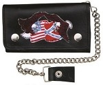 8 Inch Chain Wallet with USA & Rebel Flags