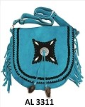 Ladies Blue Handbag with Beads, Bones, Fringe