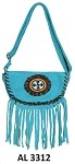Ladies Blue Handbag with Beads, Fringe